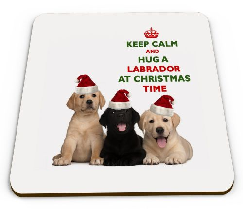 Christmas Keep Calm And Hug A Labrador Novelty Glossy Mug Coaster